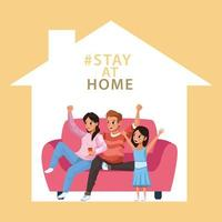 parents and daughter staying at home to avoid covid 19 vector