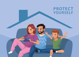 parents with son staying at home vector