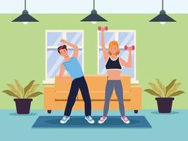 couple exercising together in the house vector