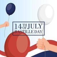 Tarjeta de celebración del día de la bastilla con bandera francesa y globos. vector