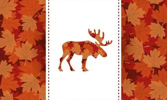 canada day celebration card with maple leafs foliage and reindeer vector