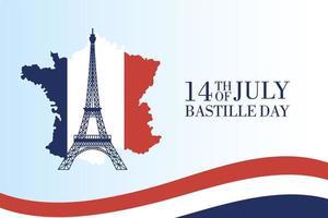 tarjeta de celebración del día de la bastilla con torre eiffel y mapa vector