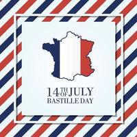 Tarjeta de celebración del día de la bastilla con mapa de Francia vector