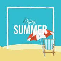 Summer time lettering with tropical icons vector