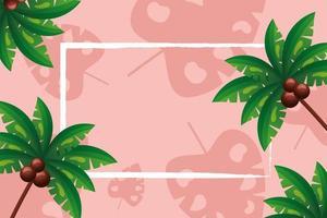 Palm trees frame vector design