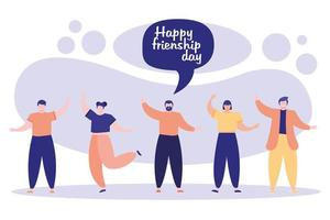 friendship day celebration with young people and speech bubble vector