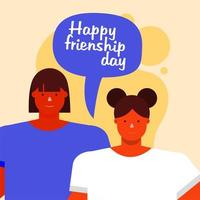 friendship day celebration with young women and speech bubble vector