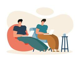 young men using laptops working in the living room vector