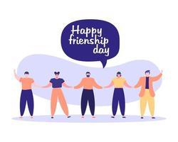 celebración del día de la amistad con jóvenes y bocadillo vector