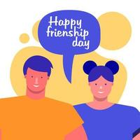 friendship day celebration with young couple and speech bubble vector
