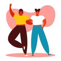 celebración del día de la amistad con mujeres jóvenes vector
