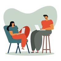 young couple using laptops indoors vector