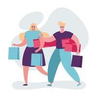 pareja joven con bolsas de compras