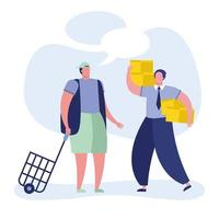 young men with shopping basket and boxes vector