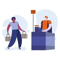 young afro man with shopping basket in the store vector