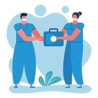 professional nurses with medical kit vector