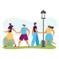 gente joven caminando avatares personajes vector