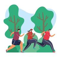 young people wearing medical masks running avatars characters vector