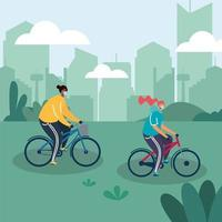 People with face masks riding bikes outdoors vector
