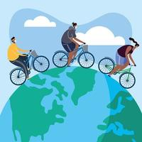 young people wearing medical masks on bicycles vector