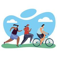 young people wearing medical masks running and on bicycles vector