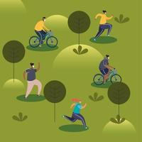 young people wearing medical masks running in bicycles vector