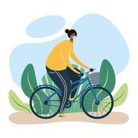 Hombre con mascarilla en bicicleta al aire libre vector