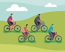 hombres jóvenes con máscara médica en bicicletas vector