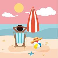 Woman sunbathing at the beach vector