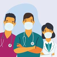 Medical staff wearing face masks vector