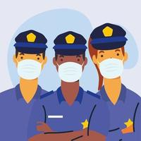 police officers wearing medical masks characters vector