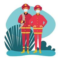 fire fighters wearing wearing face masks