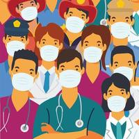 Essential workers wearing face masks