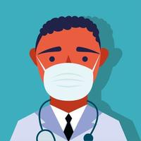 Doctor wearing a medical mask vector