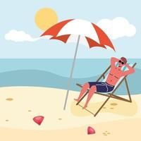 hombre tomando el sol en la playa vector