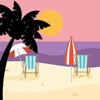 Social distance beach scene