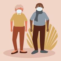Senior citizens wearing face masks vector