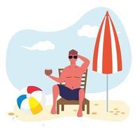 Hombre con un coco en traje de baño en la playa. vector