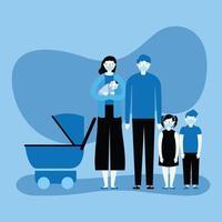 family wearing medical masks