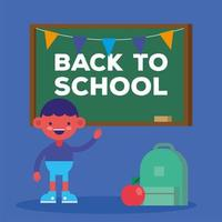 Cute back to school banner with student boy vector