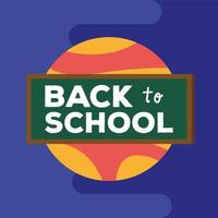 back to school lettering in a chalkboard with planet vector