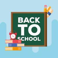 back to school lettering in a chalkboard vector