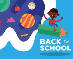 Back to school banner with student boy flying on a pencil vector