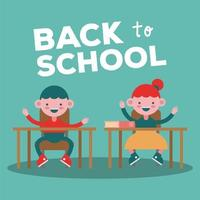 Back to school banner with little girls studying vector