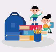 little boys with school materials vector