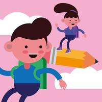 Little students flying in pencils vector