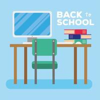 back to school lettering with computer and books vector