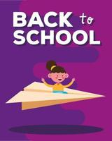 Back to school banner with student girl flying on a paper plane vector