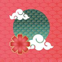 mid autumn festival poster with clouds frame vector