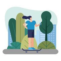 young woman riding a skateboard outdoors vector